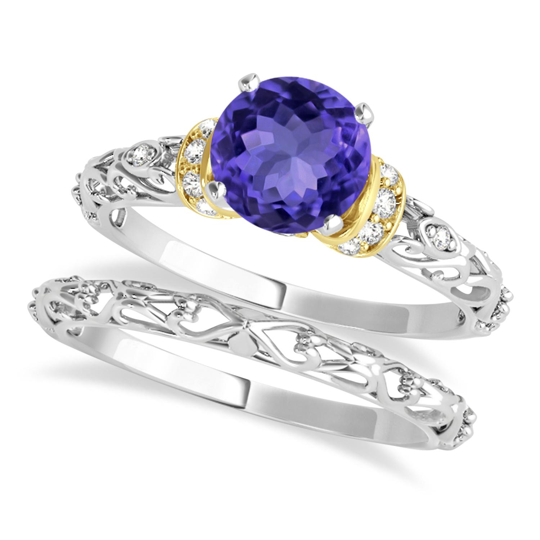 Tanzanite & Diamond Antique Style Bridal Set 18k Two-Tone Gold (0.87ct)