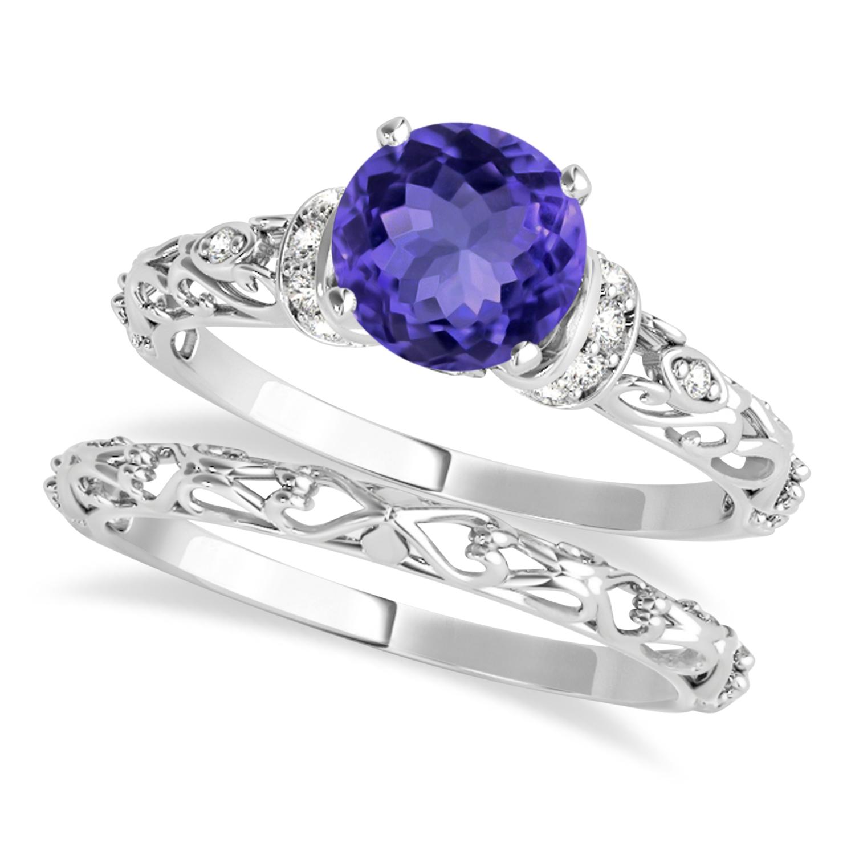 Tanzanite & Diamond Antique Style Bridal Set 14k White Gold (1.12ct)