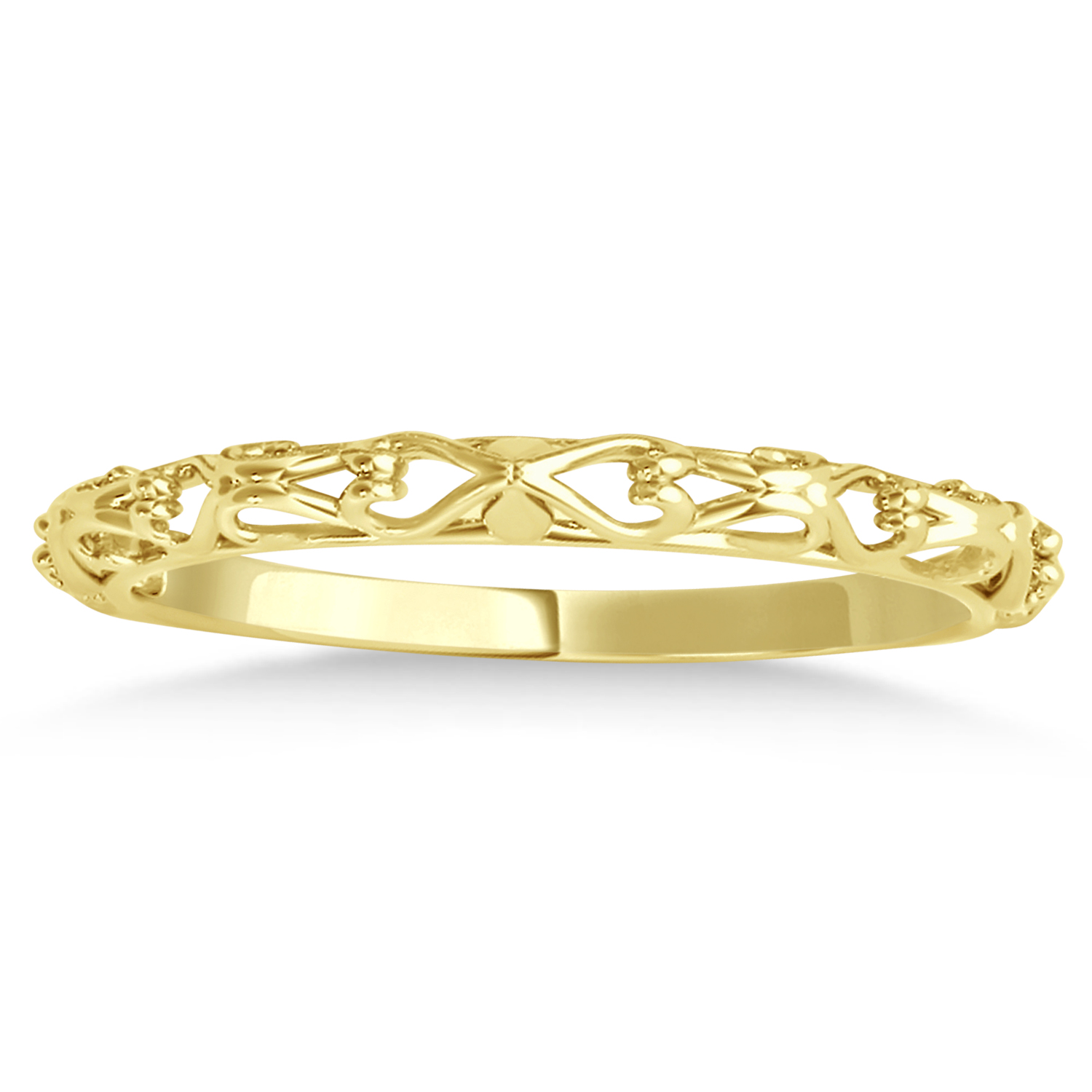 Antique Style Open Scrollwork Wedding Band 14k Yellow Gold