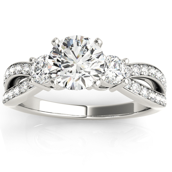 Diamond Three Stone Split Shank Engagement Ring Platinum 0.68ct