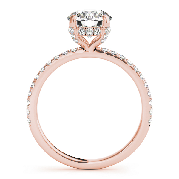 Diamond Solitaire Engagement Ring w Accents 18k Rose Gold 1.26ct