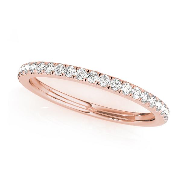 Diamond Accented Semi Eternity Wedding Band 18k Rose Gold (0.19ct)