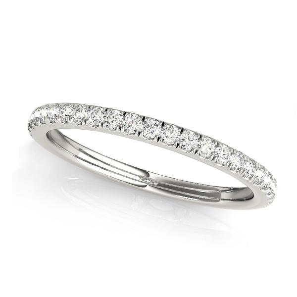 Diamond Accented Semi Eternity Wedding Band 18k White Gold (0.19ct)