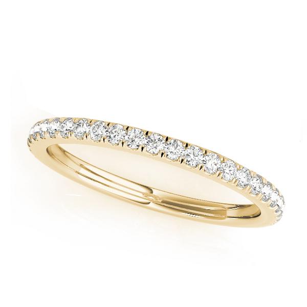 Diamond Accented Semi Eternity Wedding Band 18k Yellow Gold (0.19ct)