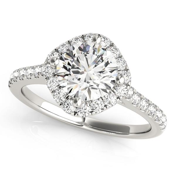 Diamond East West Halo Engagement Ring 14k White Gold (0.96ct)
