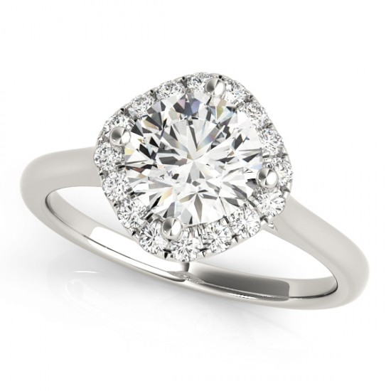 East West Bands: Diagonal Diamond Halo East West Engagement Ring 14k White