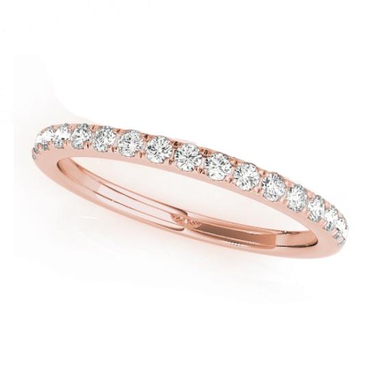 Diamond Prong Wedding Band Ring 18k Rose Gold (0.17ct)