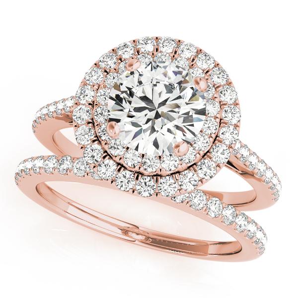 Double Halo Diamond Bridal Set 14k Rose Gold (1.64ct)