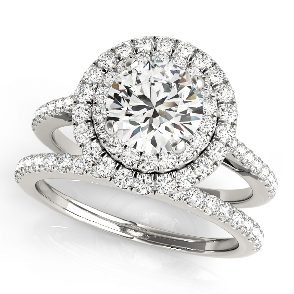 Double Halo Diamond Bridal Set 14k White Gold (1.64ct)