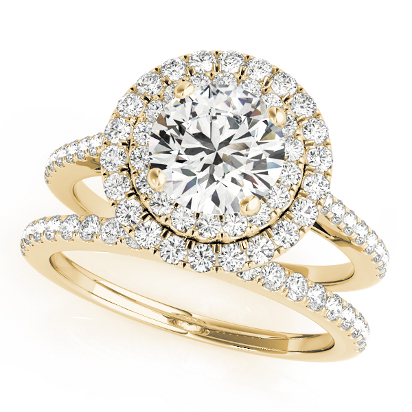 Double Halo Diamond Bridal Set 14k Yellow Gold (1.64ct)