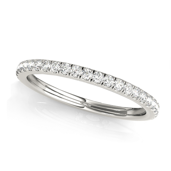 Diamond Accented Semi Eternity Wedding Band 14k White Gold (0.16ct)