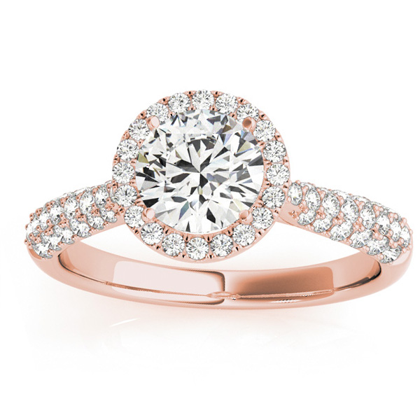 Diamond Halo Pave Sidestone Accented Engagement Ring 14k Rose Gold (0.33ct)