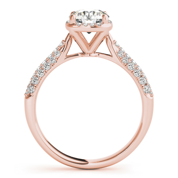 Round-Cut Square Halo Pave' Diamond Engagement Ring 14k Rose Gold (2.33ct)