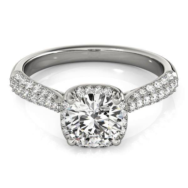 Round Cut Square Halo Pave Diamond Engagement Ring 14k White Gold 2 33ct
