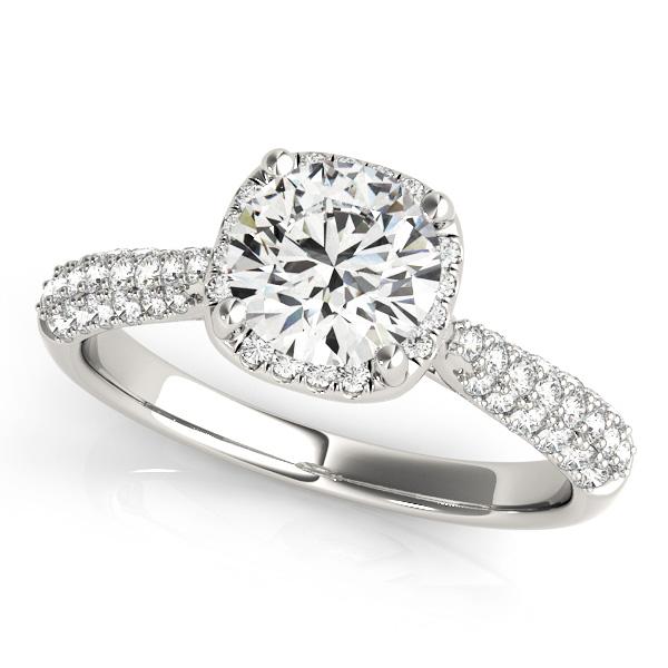 Round-Cut Square Halo Pave' Diamond Engagement Ring Platinum (2.33ct)
