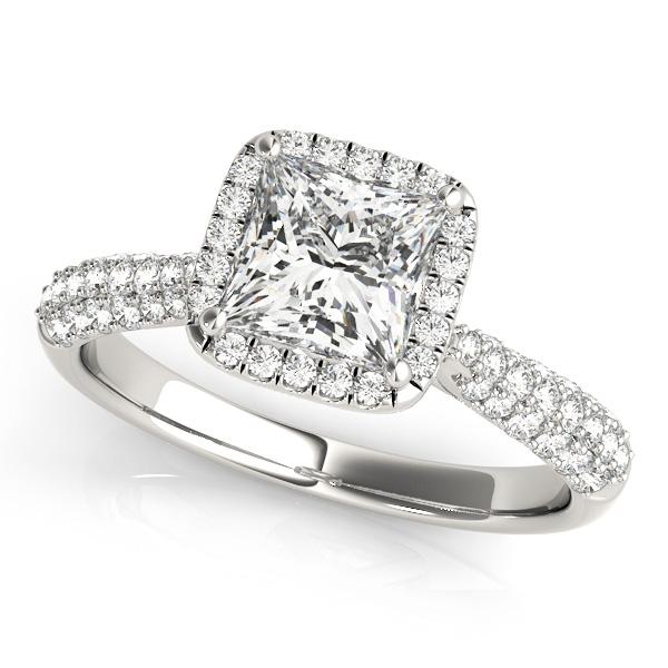 Big Cheap Wedding Rings: Princess-Cut Halo Pave' Diamond Engagement Ring Platinum 2