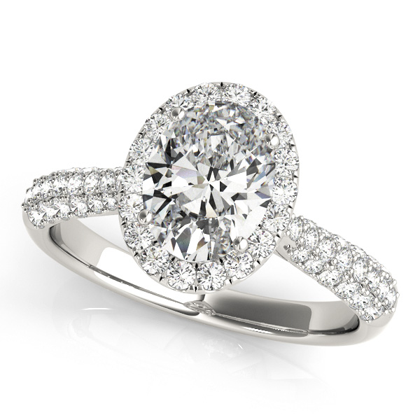 Oval-Cut Halo pave' Diamond Engagement Ring 14k White Gold (2.33ct)