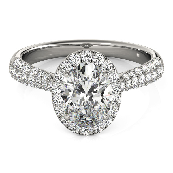 Oval Cut Halo pave Diamond Engagement Ring 14k White Gold 2 33ct