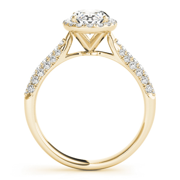 oval cut halo pave engagement ring setting 14k