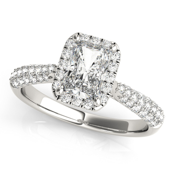 Emerald-Cut Halo pave' Diamond Engagement Ring 14k White Gold (2.38ct)