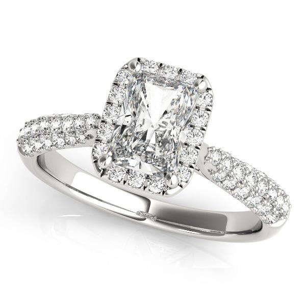 Emerald-Cut Halo pave' Diamond Engagement Ring 18k White Gold (2.38ct)