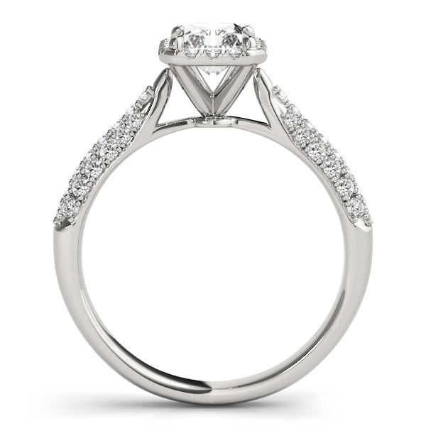emerald cut halo pave engagement ring 18k white