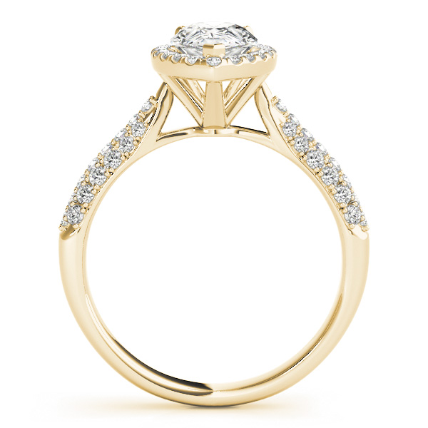 Pear-Cut Halo pave' Diamond Engagement Ring 14k Yellow Gold (2.38ct)