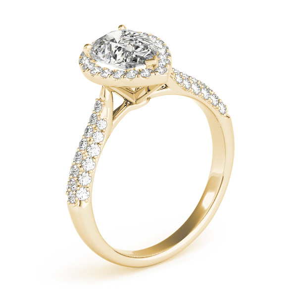 Pear Cut Halo pave Diamond Engagement Ring 18k Yellow Gold 2 38ct