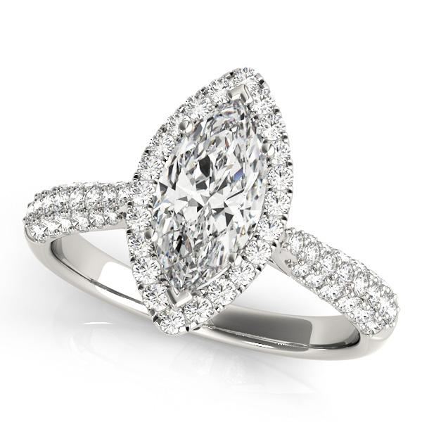 Diamond Marquise Halo Engagement Ring 14k White Gold (2.00ct)