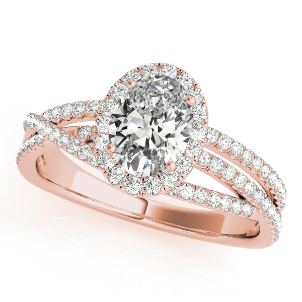 Oval-Cut Halo Triple Row Diamond Engagement Ring 18k Rose Gold (1.38ct)