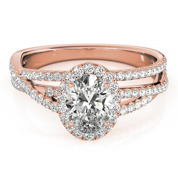 Oval Cut Halo Triple Row Diamond Engagement Ring 18k Rose Gold 1 38ct
