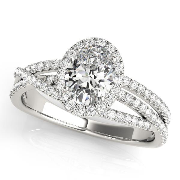 Oval-Cut Halo Triple Row Diamond Engagement Ring Palladium (1.38ct)