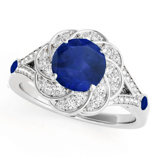 Diamond & Blue Sapphire Floral Engagement Ring 18k White Gold (1.25ct)