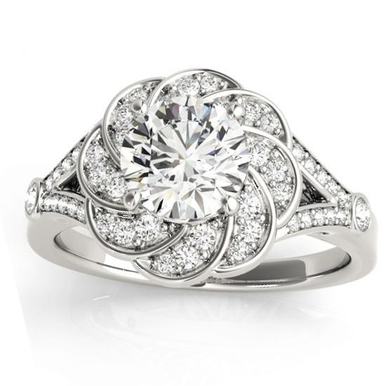 Diamond Floral Split Shank Engagement Ring Setting 14k White Gold (0.25ct)