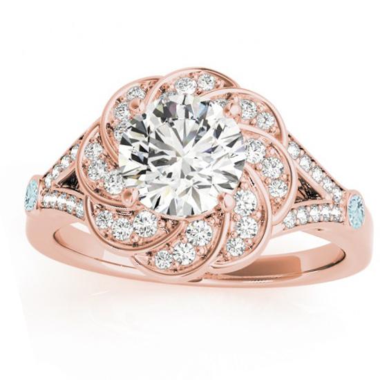 Diamond & Aquamarine Floral Engagement Ring Setting 14k Rose Gold (0.25ct)