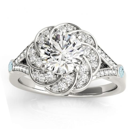 Diamond & Aquamarine Floral Engagement Ring Setting 18k White Gold (0.25ct)
