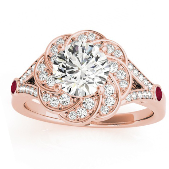 Diamond & Ruby Floral Engagement Ring Setting 14k Rose Gold 0 25ct