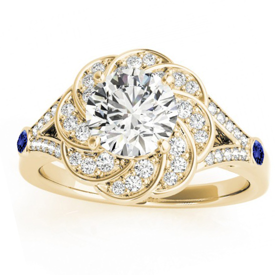 Diamond & Tanzanite Floral Engagement Ring Setting 14k Yellow Gold (0.25ct)