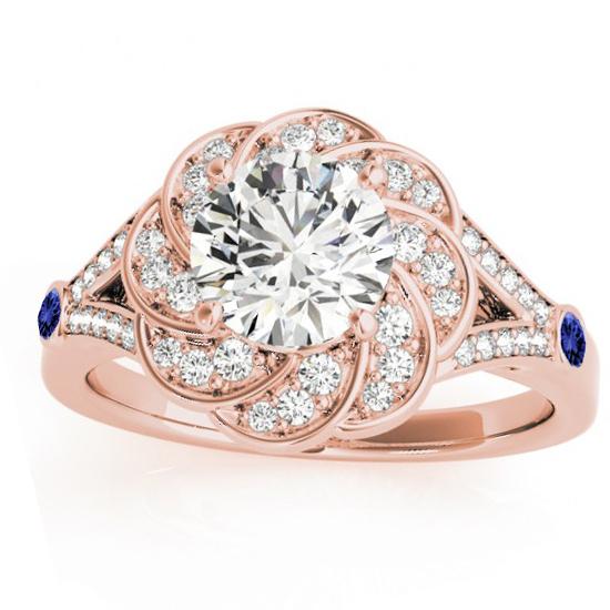 Diamond & Tanzanite Floral Engagement Ring Setting 18k Rose Gold (0.25ct)