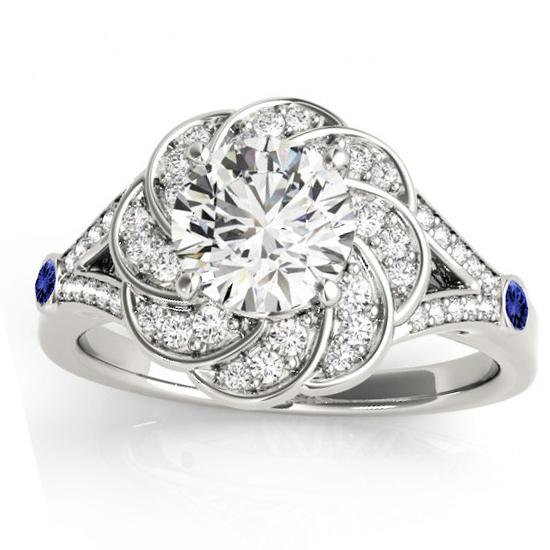Diamond & Tanzanite Floral Engagement Ring Setting Platinum (0.25ct)
