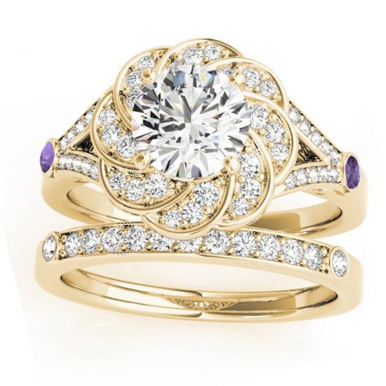 Diamond & Amethyst Floral Bridal Set Setting 14k Yellow Gold (0.35ct)