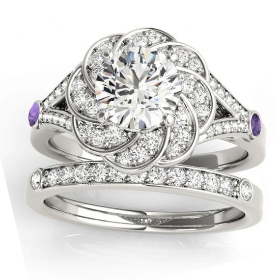 Diamond & Amethyst Floral Bridal Set Setting Palladium (0.35ct)