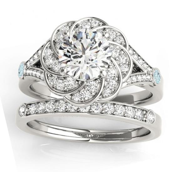 Diamond & Aquamarine Floral Bridal Set Setting 14k White Gold (0.35ct)