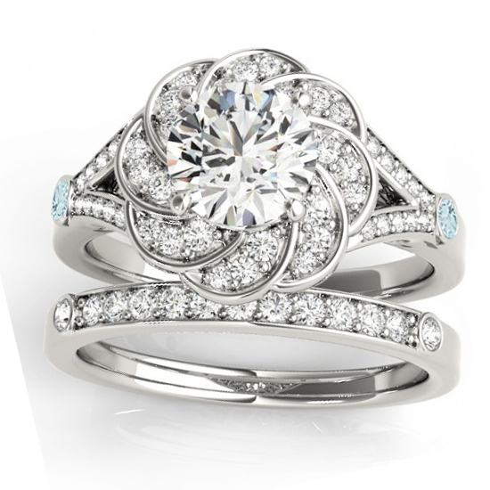 Diamond & Aquamarine Floral Bridal Set Setting Palladium (0.35ct)