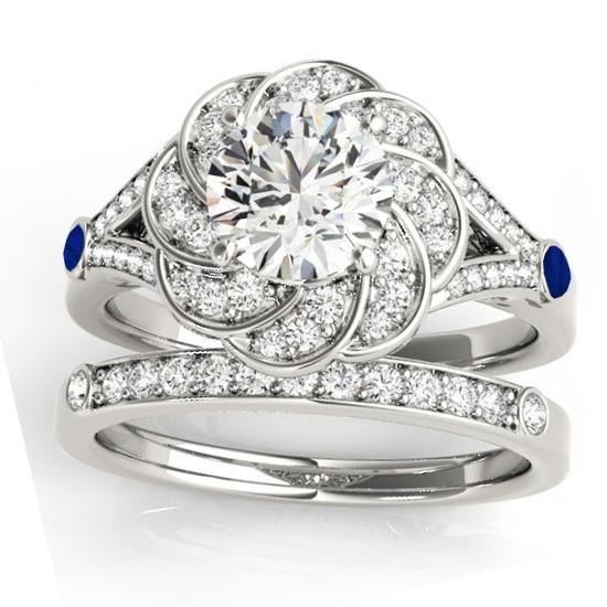 Diamond & Blue Sapphire Floral Bridal Set Setting Platinum (0.35ct)
