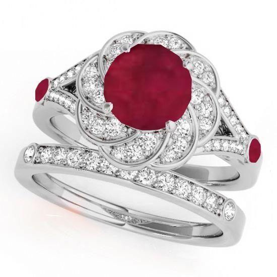 Diamond & Ruby Floral Swirl Bridal Set 14k White Gold (1.35ct)