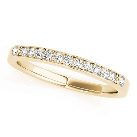 Diamond Prong & Bezel Set Wedding Band Ring 14k Yellow Gold (0.10ct)