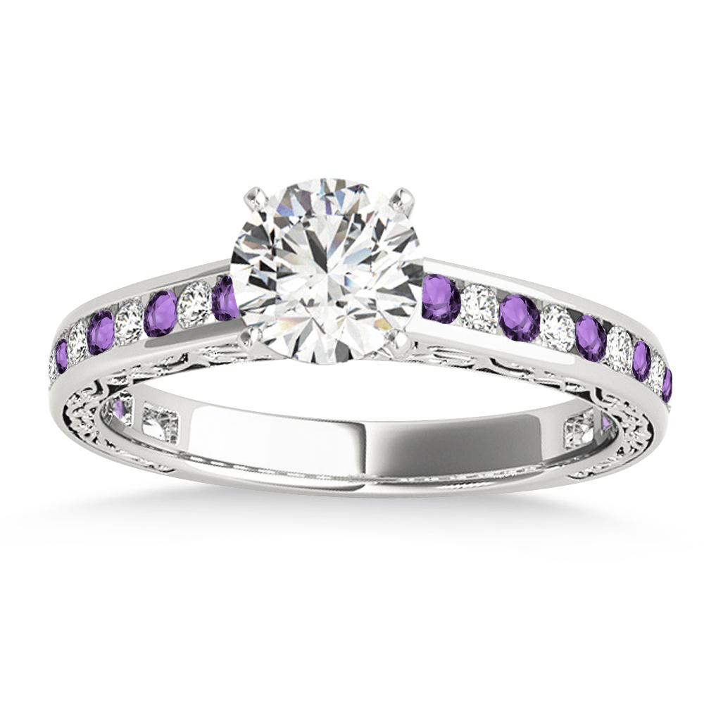 Amethyst diamond channel set engagement ring 14k white for Amethyst diamond wedding ring set