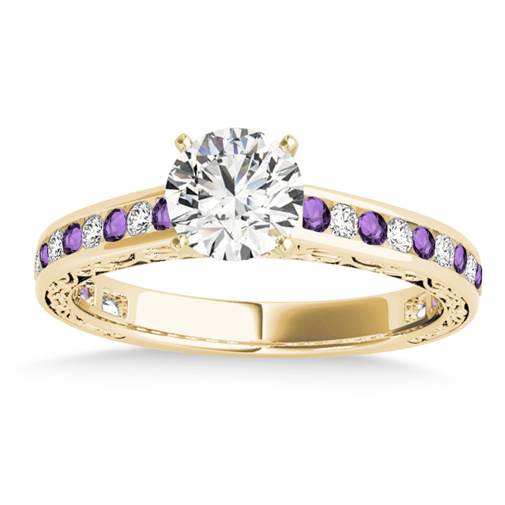 Amethyst & Diamond Channel Set Engagement Ring 14k Yellow Gold (0.42ct)