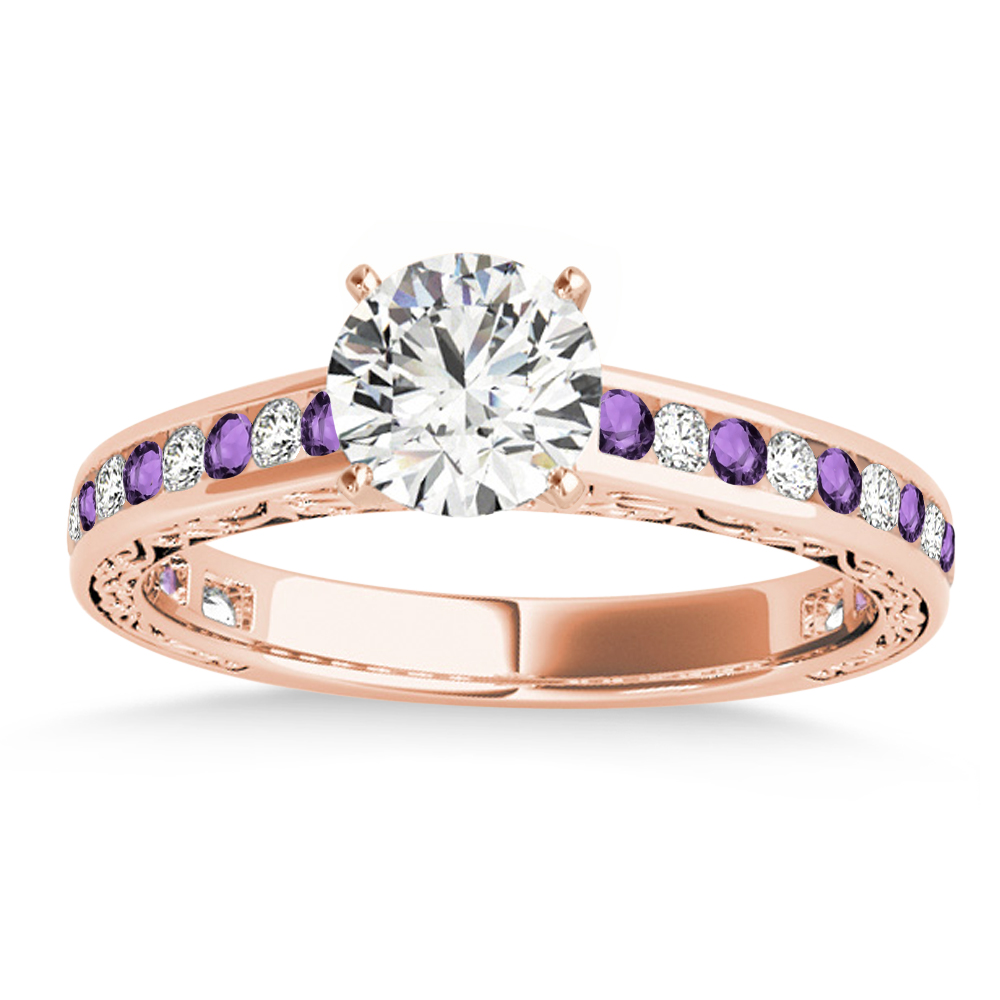 Amethyst & Diamond Channel Set Engagement Ring 18k Rose Gold (0.42ct)